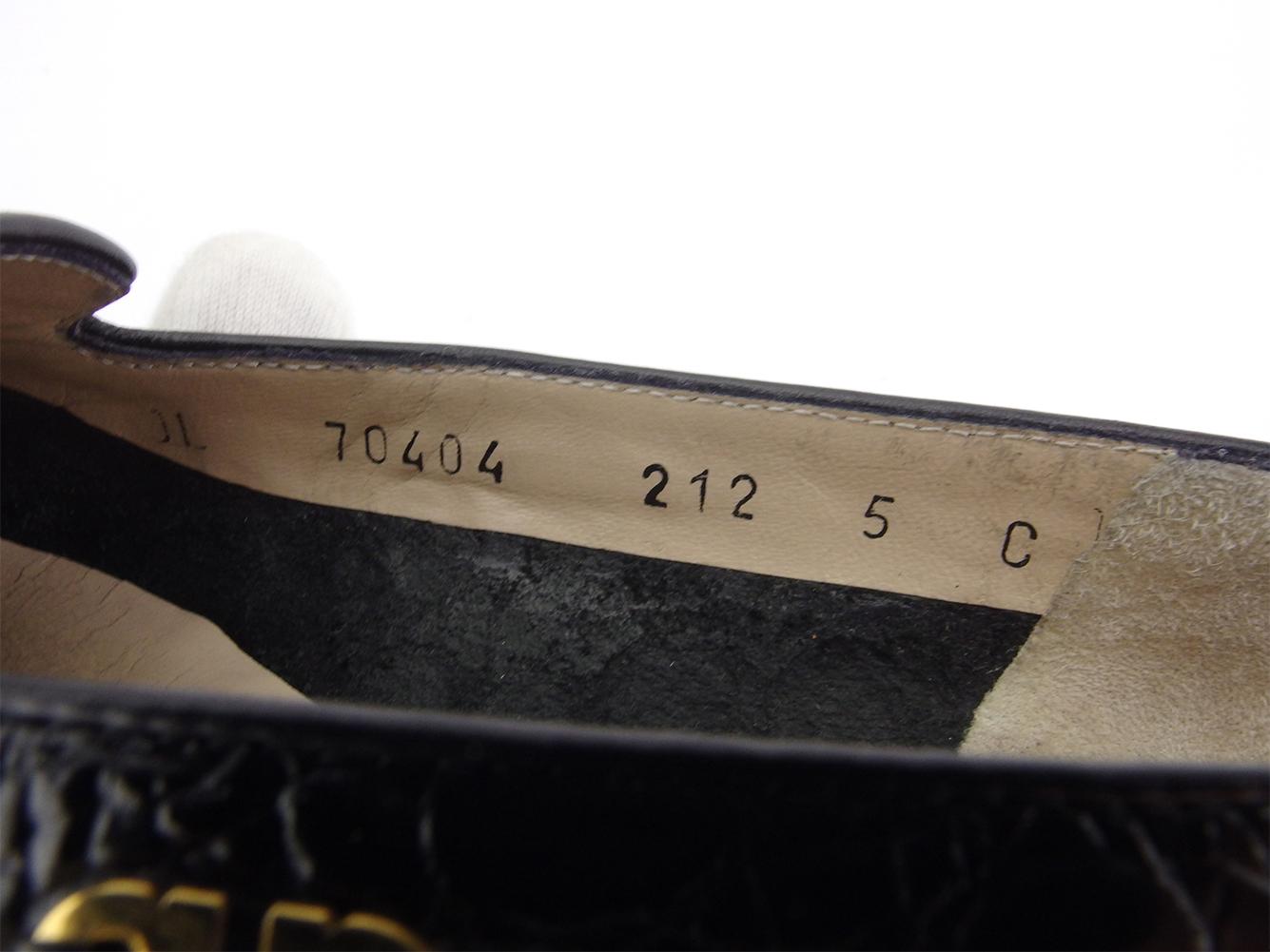 サルヴァトーレ フェラガモ ローファー シューズ 靴 レディース ♯5C パンプス ガンチーニ クロコ調 ブラック ゴールド 型押しレザー Salvatore Ferragamo D2175Yb6y7vfg