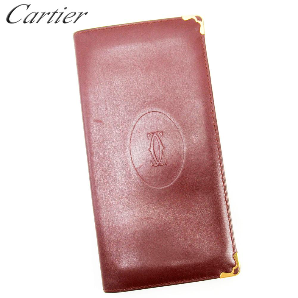 【中古】 カルティエ Cartier 長札入れ 長財布 レディース メンズ ボルドー レザー T17267