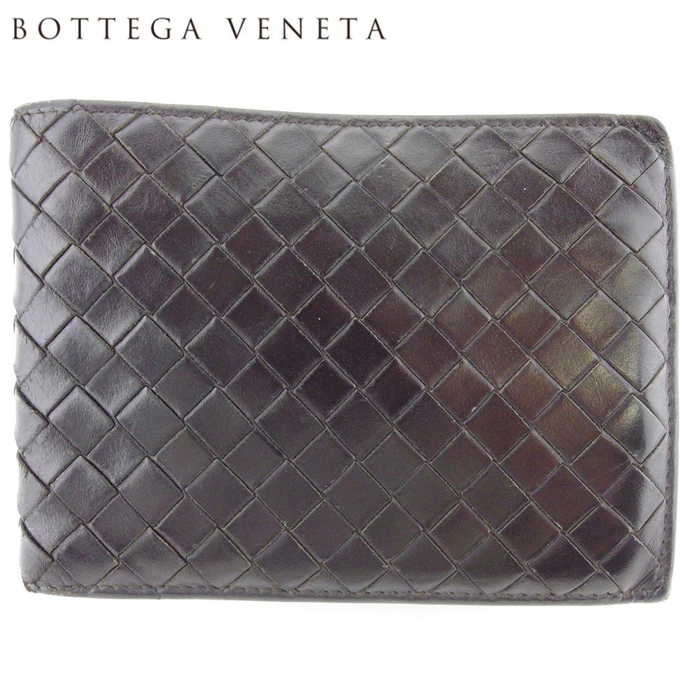 【中古】 ボッテガ ヴェネタ 二つ折り 財布 ミニ財布 メンズ イントレチャート ブラウン レザー BOTTEGA VENETA L2920