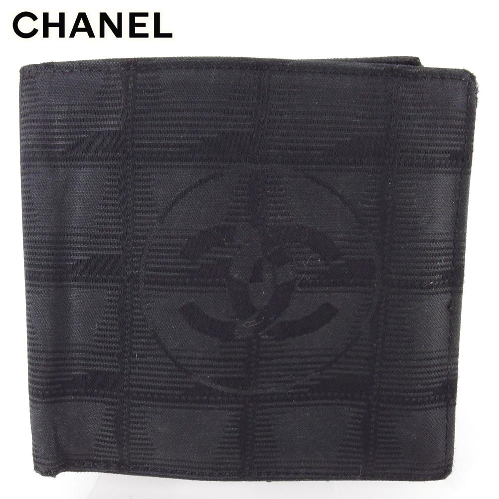 【中古】 シャネル 二つ折り 財布 ミニ財布 レディース メンズ オールドシャネル ニュートラベルライン ブラック ナイロンジャガード×レザー CHANEL T17275