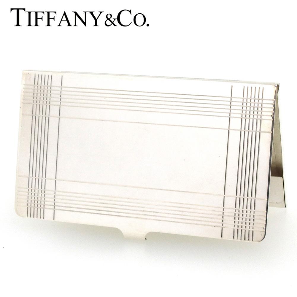 【中古】 ティファニー カードケース 名刺入れ レディース メンズ チェック シルバー シルバー925 Tiffany&Co. T17327