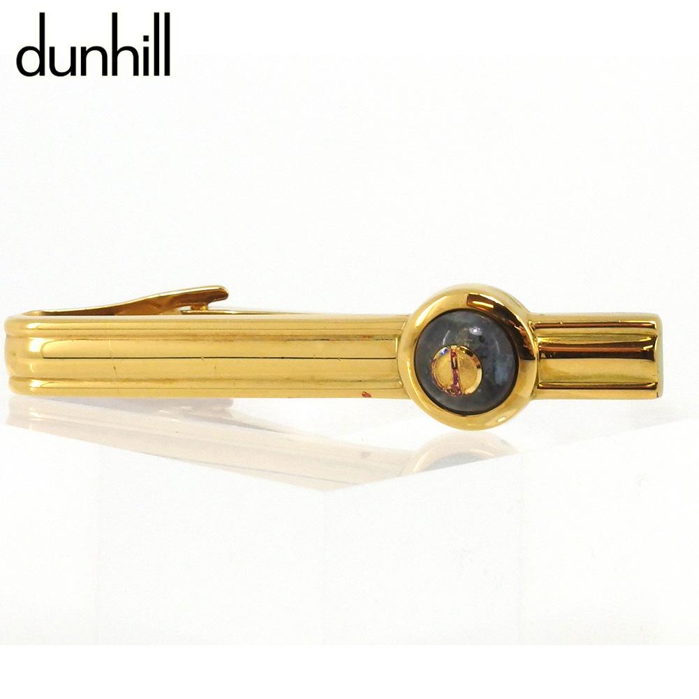 【中古】 ダンヒル カフス カフリンクス メンズ ワニロ式 dマーク ゴールド ブラック ゴールド金具 dunhill T17358