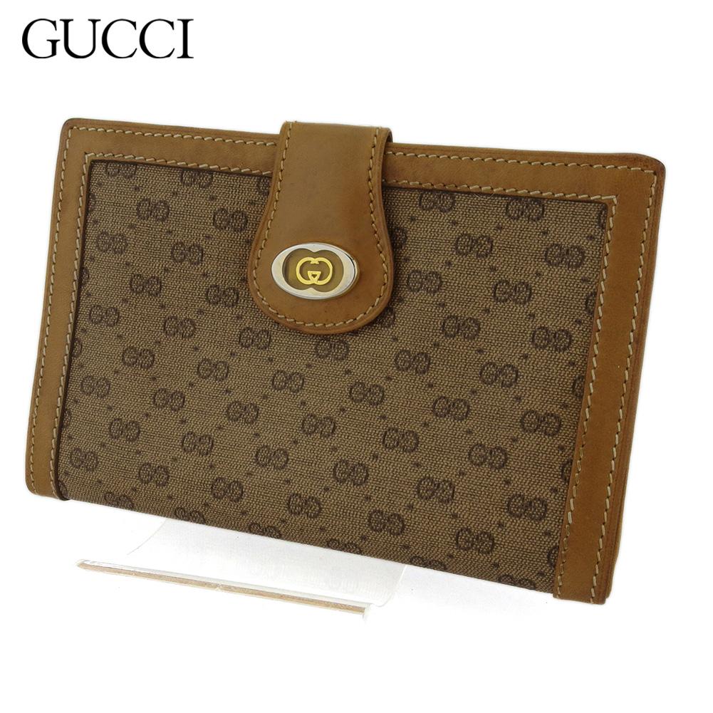 【中古】 グッチ 二つ折り 財布 がま口 ミニ財布 レディース メンズ オールドグッチ マイクロGG ベージュ ブラウン ゴールド シルバー PVC×レザー GUCCI T17402