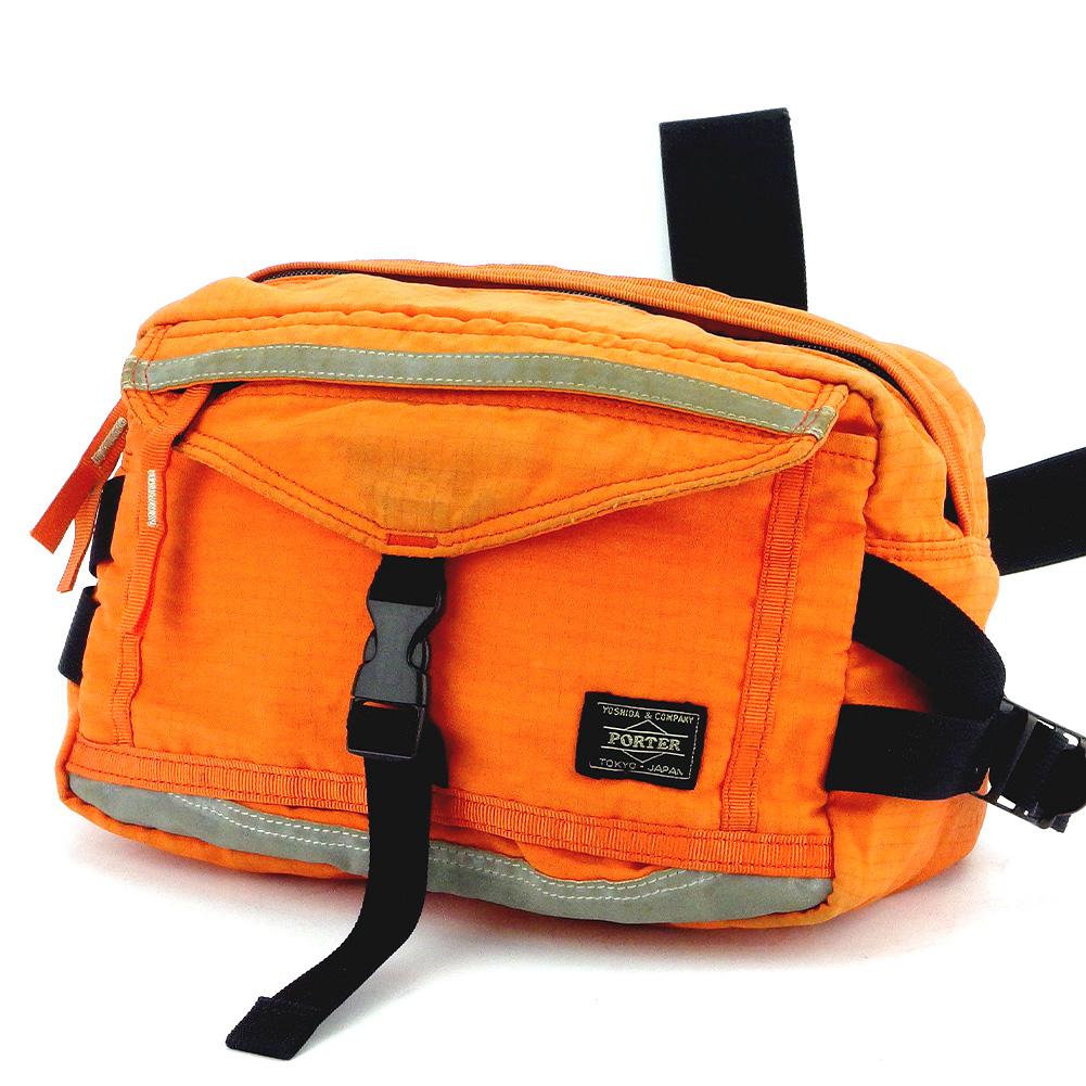 【中古】 ポーター ウエストバッグ ウエストポーチ 吉田カバン ロゴ オレンジ ブラック グレー 灰色 キャンバス PORTER L2946