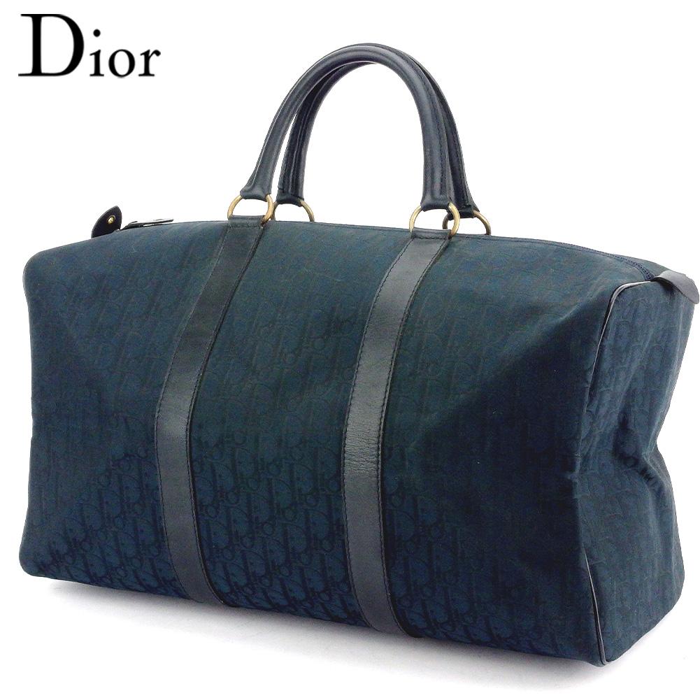 【中古】 ディオール ボストンバッグ トラベルバッグ 旅行用バッグ トロッター ネイビー ゴールド キャンバス×レザー Dior T17404