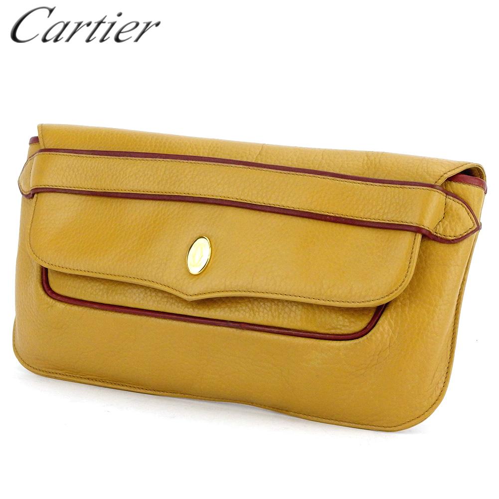 【中古】 カルティエ クラッチバッグ セカンドバッグ マストライン イエロー ボルドー ゴールド レザー Cartier T17409