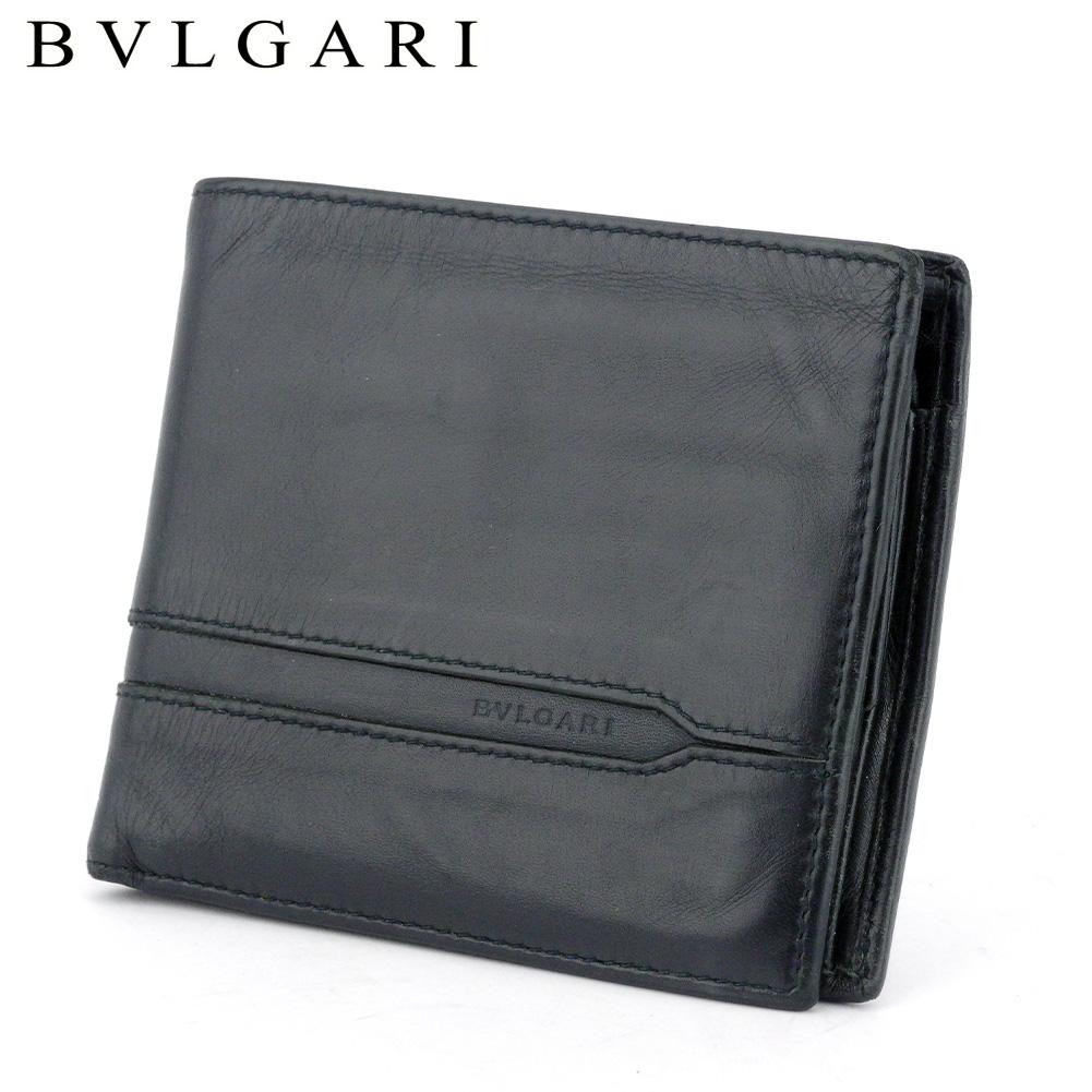 【中古】 ブルガリ 二つ折り 財布 オクト ブラック ネイビー レザー BVLGARI T17447