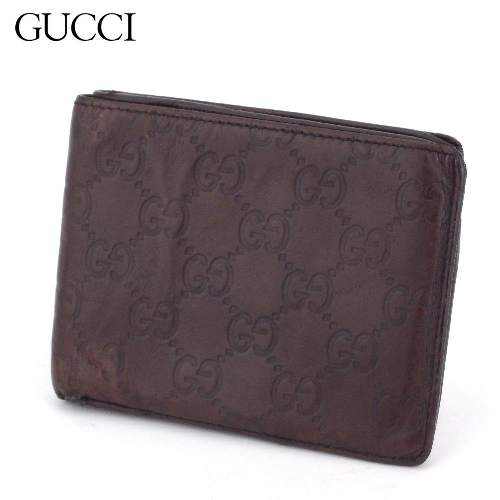 【中古】 グッチ 二つ折り 財布 グッチシマ ブラウン レザー GUCCI T17449