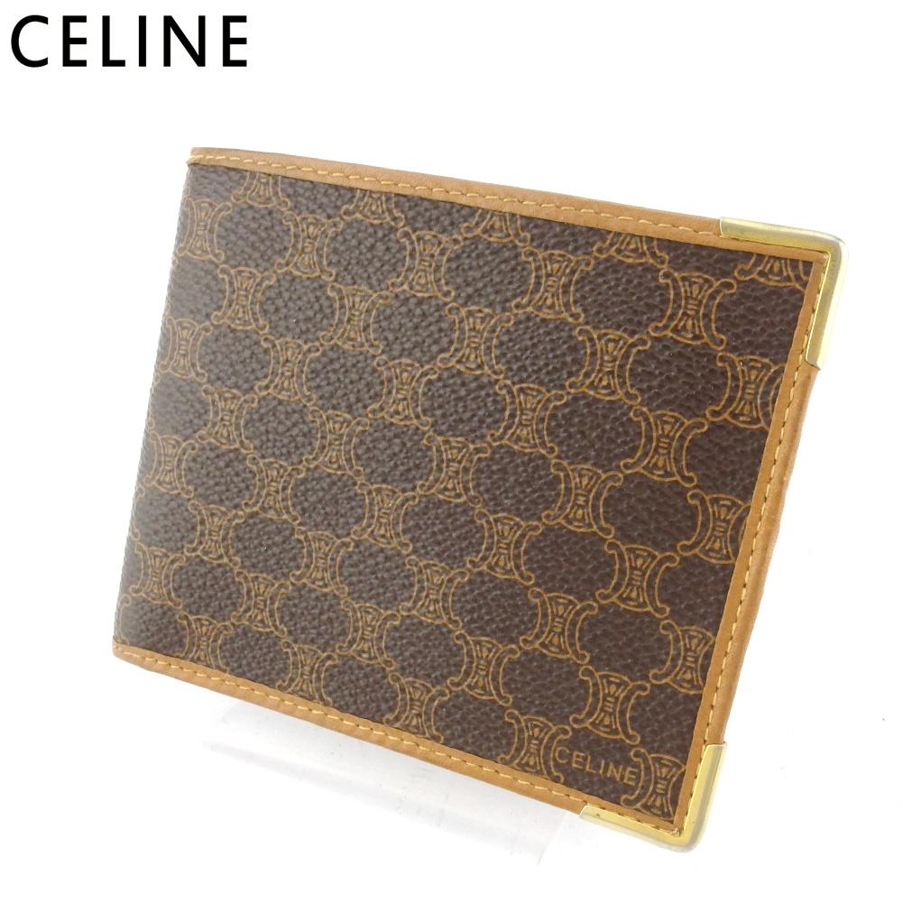 【中古】 セリーヌ 二つ折り 財布 レディース メンズ マカダム ブラウン ベージュ ゴールド PVC×レザー CELINE T17493 .