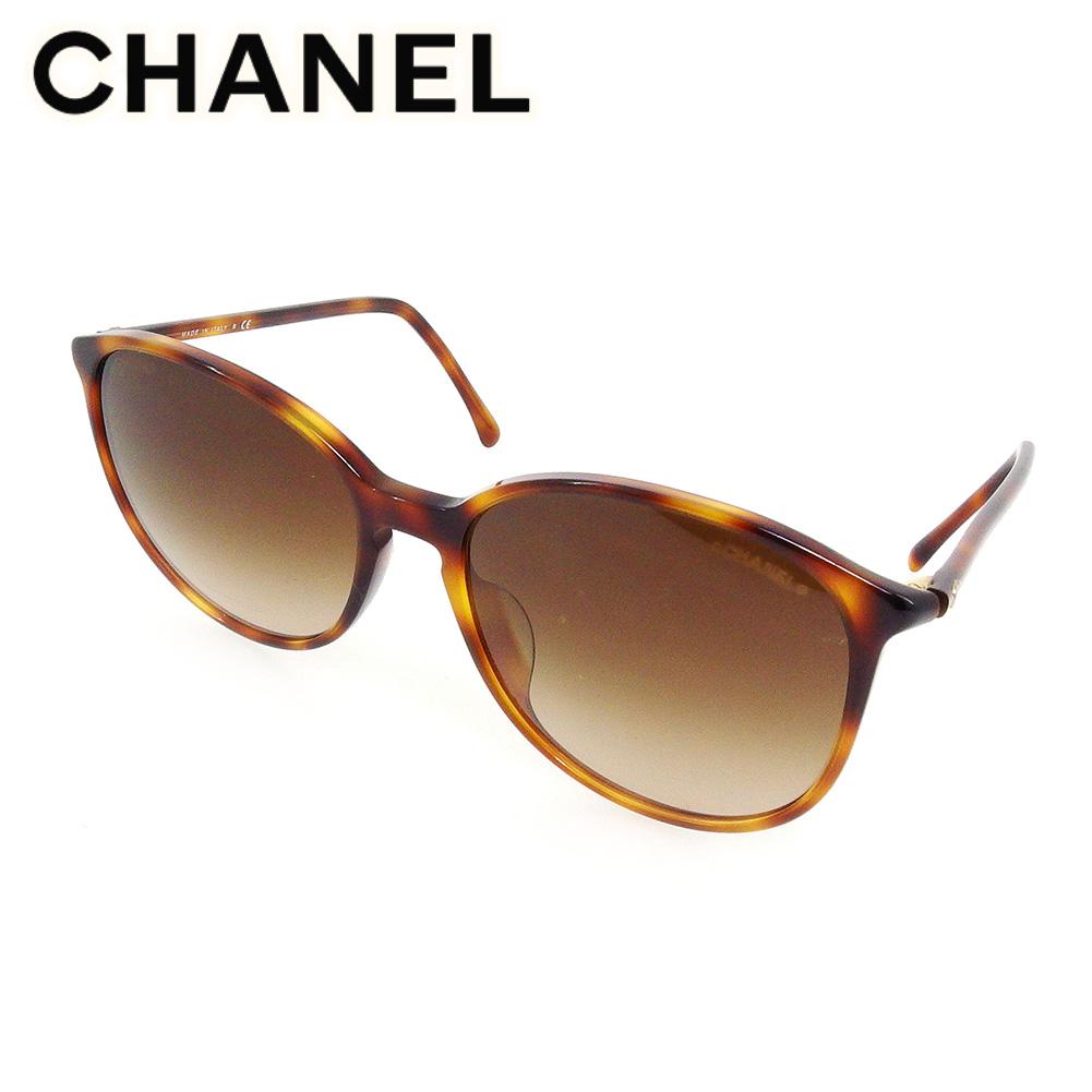【中古】 シャネル サングラス メガネ アイウェア レディース メンズ ボストン型 ココマーク べっ甲柄 ブラウン ベージュ ゴールド プラスチック CHANEL T17495