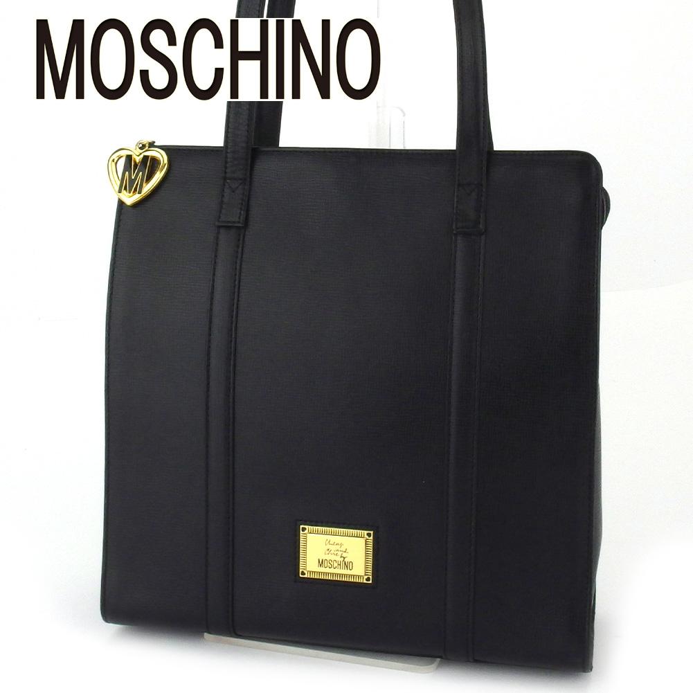 【中古】 モスキーノ ショルダーバッグ ワンショルダー レディース ブラック レザー MOSCHINO E1521