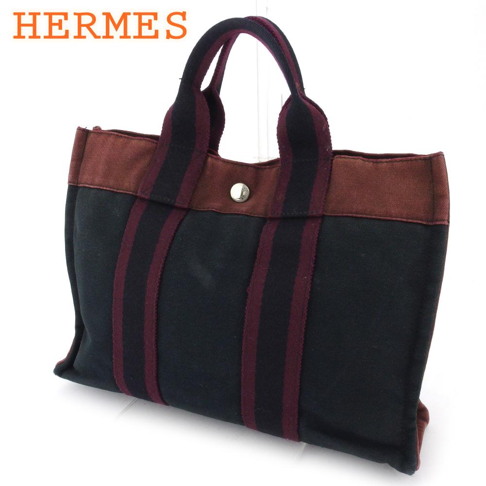 【中古】 エルメス トートバッグ ハンドバッグ レディース メンズ フールトゥトートPM フールトゥ ボルドー ブラック 綿100% HERMES E1532