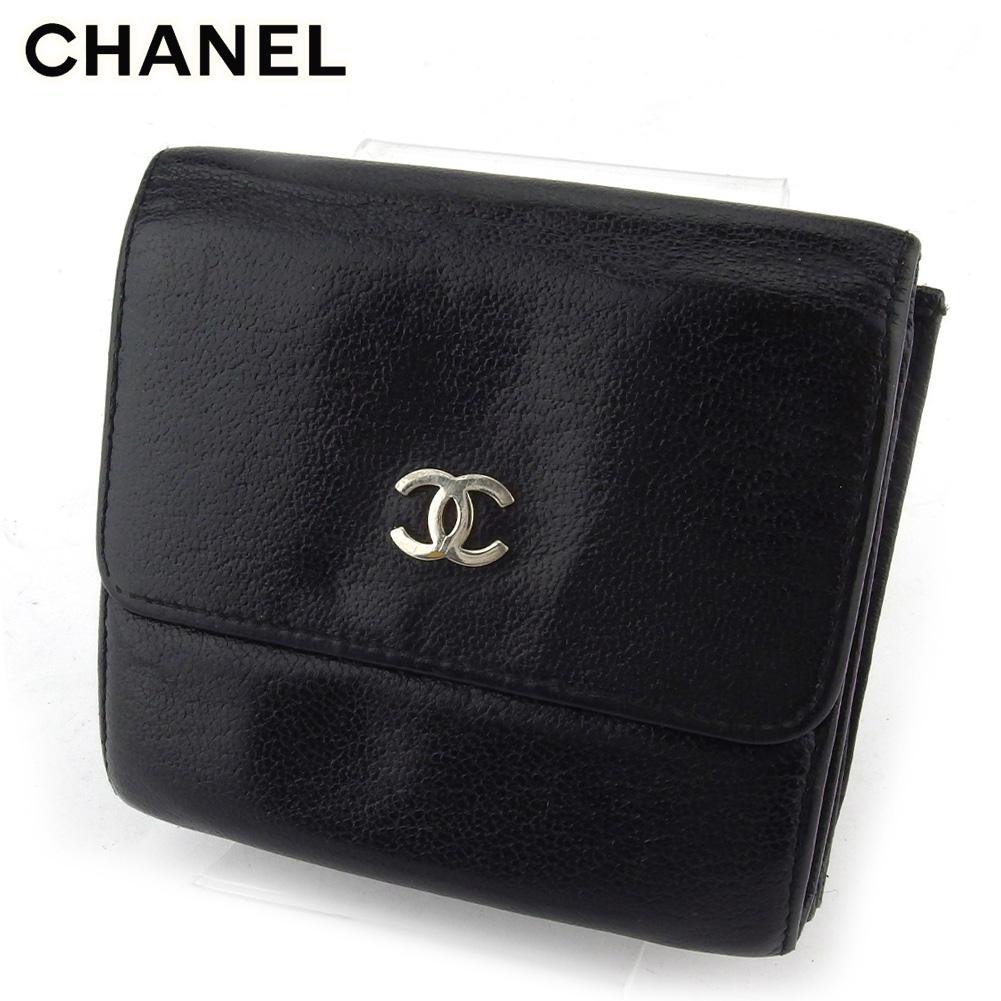 【中古】 シャネル Wホック 財布 二つ折り 財布 ミニ財布 レディース ココマーク ブラック レザー CHANEL T17551