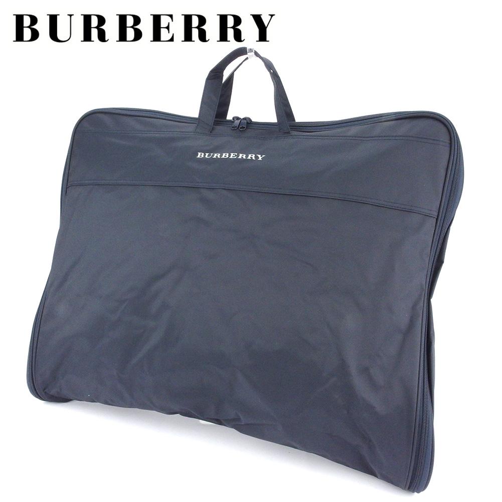 【中古】 バーバリー ガーメントケース ガーメント カバー バッグ レディース メンズ ロゴ ネイビー ホワイト 白 ナイロンキャンバス BURBERRY E1551