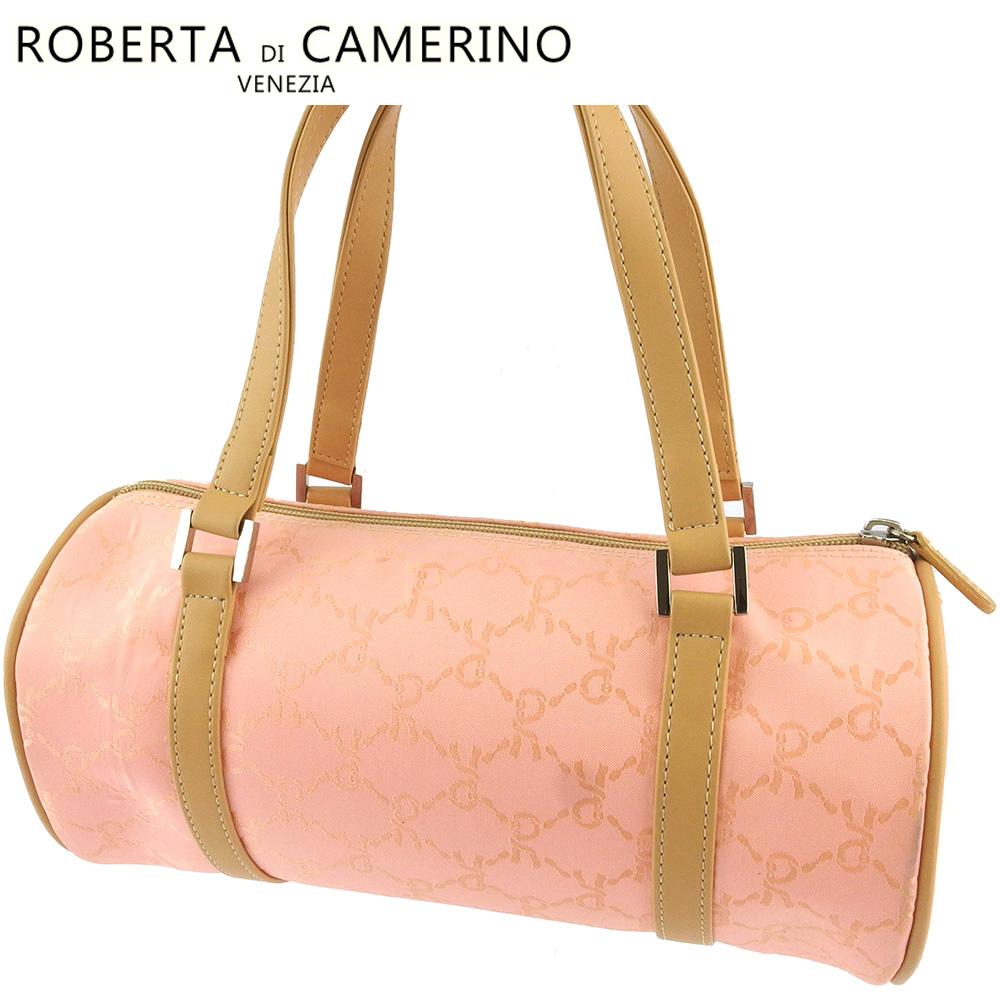 【中古】 ロベルタディカメリーノ ハンドバッグ 筒型 バッグ レディース Rモチーフ柄 ピンク ベージュ シルバー キャンバス ROBERTA DI CAMERINO F1572
