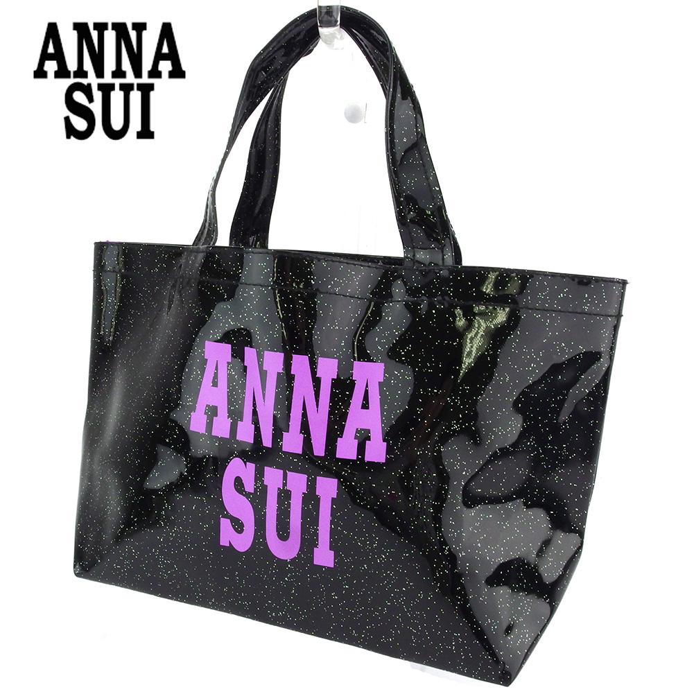 【中古】 アナスイ ハンドバッグ ミニトート バッグ レディース ロゴ ラメ ブラック パープル ANNA SUI F1587