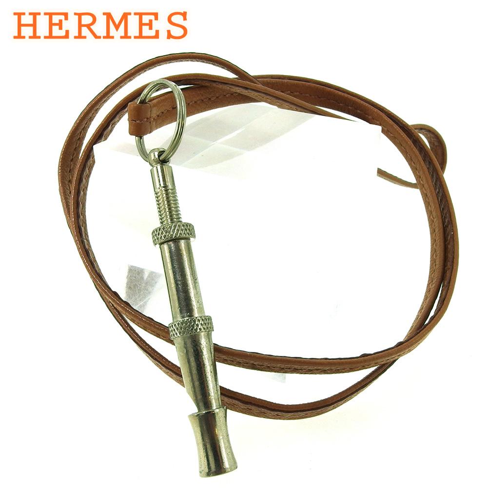 【中古】 エルメス 笛 ホイッスル 犬笛 レディース メンズ シフレ ネックストラップ ドッグホイッスル ブラウン シルバー レザー HERMES F1592