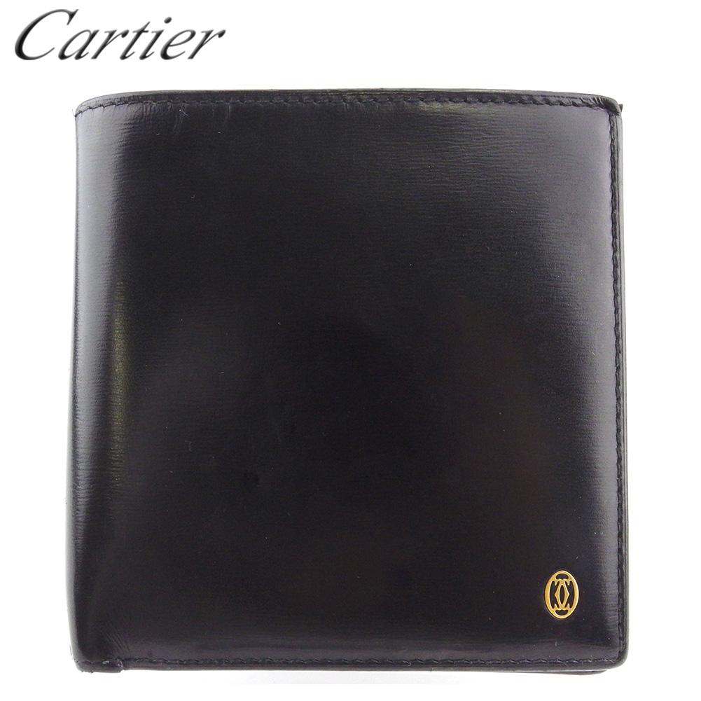 【中古】 カルティエ 二つ折り 財布 ミニ財布 メンズ パシャ ブラック ゴールド レザー Cartier T17594