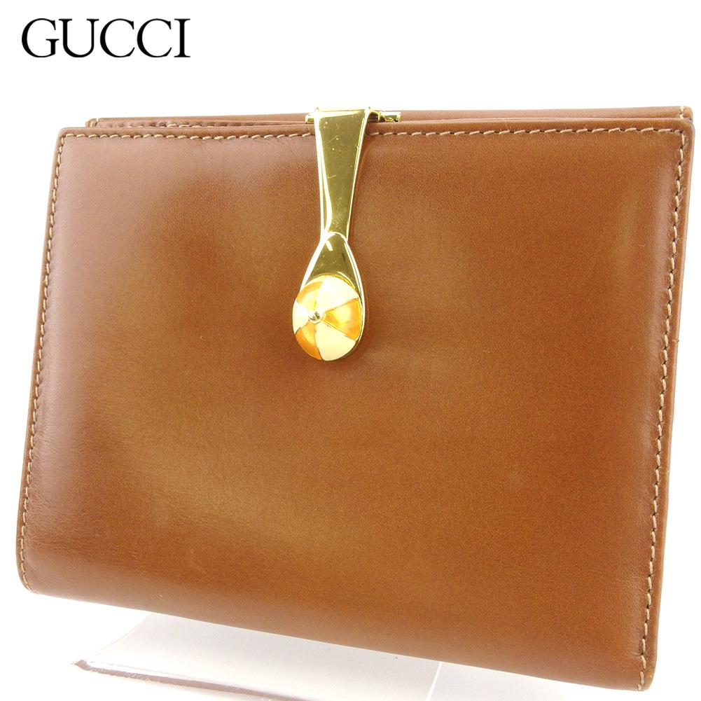 【中古】 グッチ Wホック 財布 二つ折り ミニ財布 レディース メンズ キャップモチーフ ブラウン ゴールド ベージュ レザー GUCCI T17600
