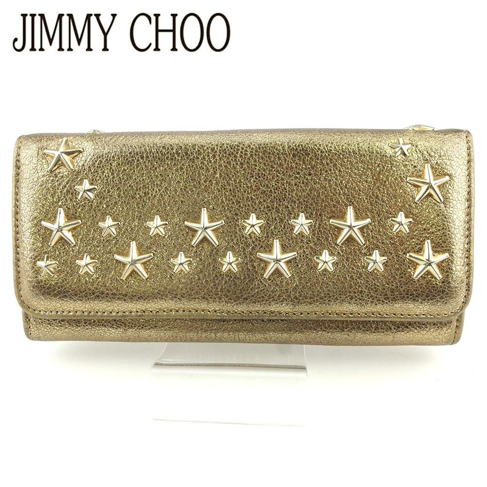 在庫限り ジミーチュウ 人気 中古 長財布 ファスナー付き 最安値に挑戦 財布 レディース CHOO L2962 ベージュ スタースタッズ ゴールド JIMMY レザー