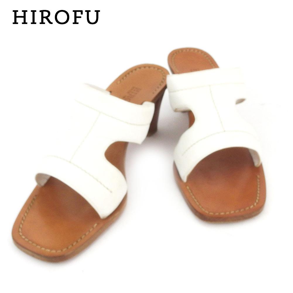 【中古】 ヒロフ サンダル シューズ 靴 ♯24 スタックヒール デザインレザー ホワイト 白 ブラウン レザー HIROFU I568 .