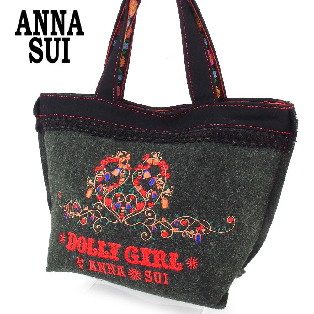 【中古】 アナスイ トートバッグ ハンドバッグ レディース 刺繍 グレー 灰色 ANNA SUI I586