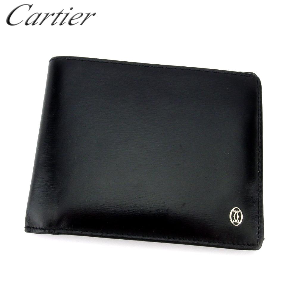 【中古】 カルティエ 二つ折り 札入れ 二つ折り 財布 レディース メンズ パシャ ブラック レザー Cartier T17837