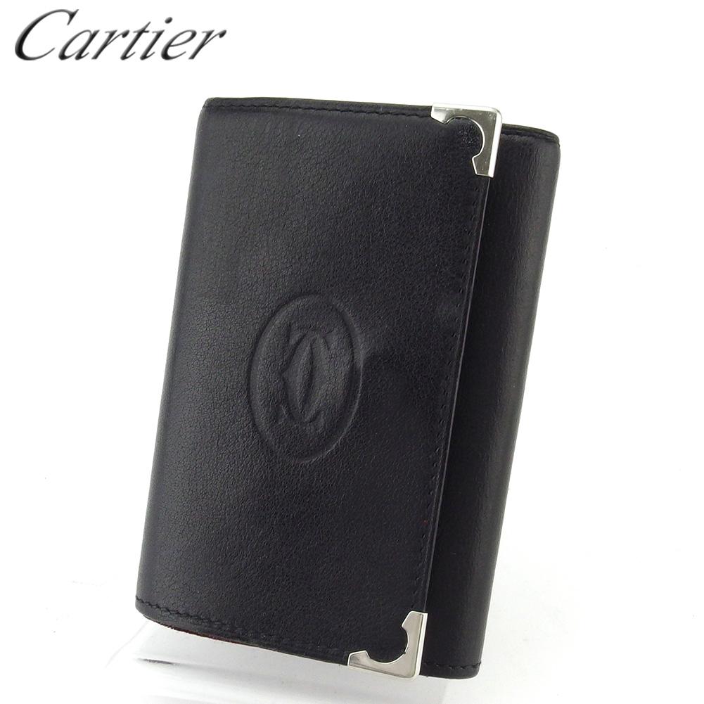 【中古】 カルティエ キーケース 6連キーケース 札入れ付き メンズ カボション ブラック シルバー ボルドー レザー Cartier L2992