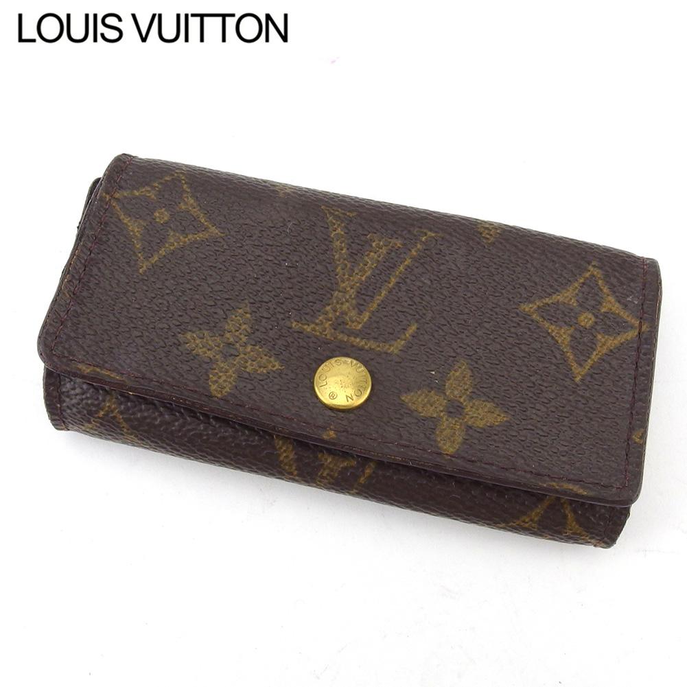 【中古】 ルイ ヴィトン キーケース 4連キーケース レディース メンズ ミュルティクレ4 モノグラム ブラウン ベージュ ゴールド モノグラムキャンバス Louis Vuitton L2997