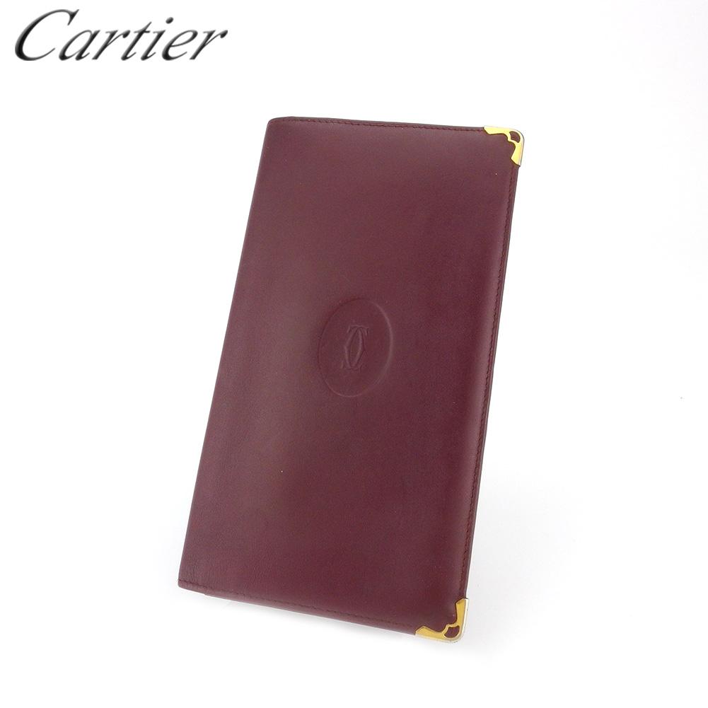 【中古】 カルティエ 長札入れ 札入れ レディース メンズ マストライン ボルドー ゴールド レザー Cartier T18032