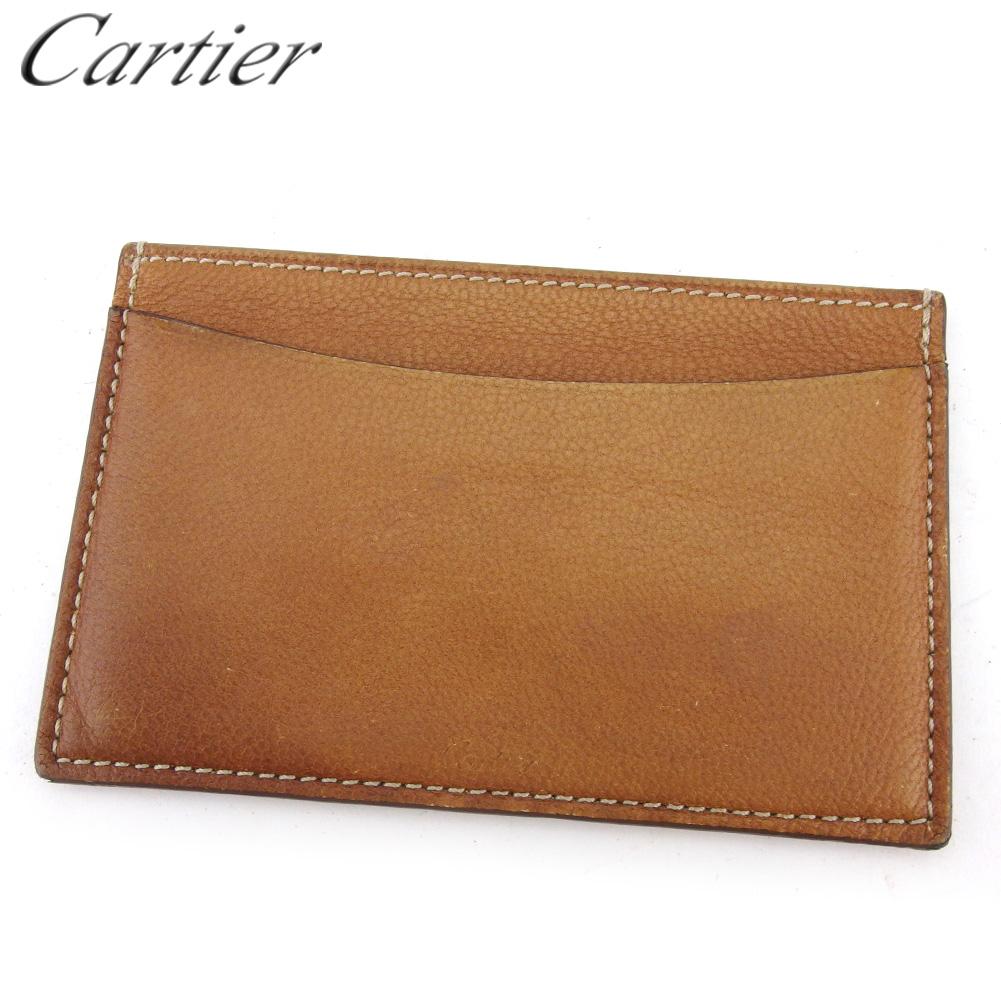 【中古】 カルティエ カードケース カード 名刺入れ レディース メンズ ブラウン レザー Cartier D2219