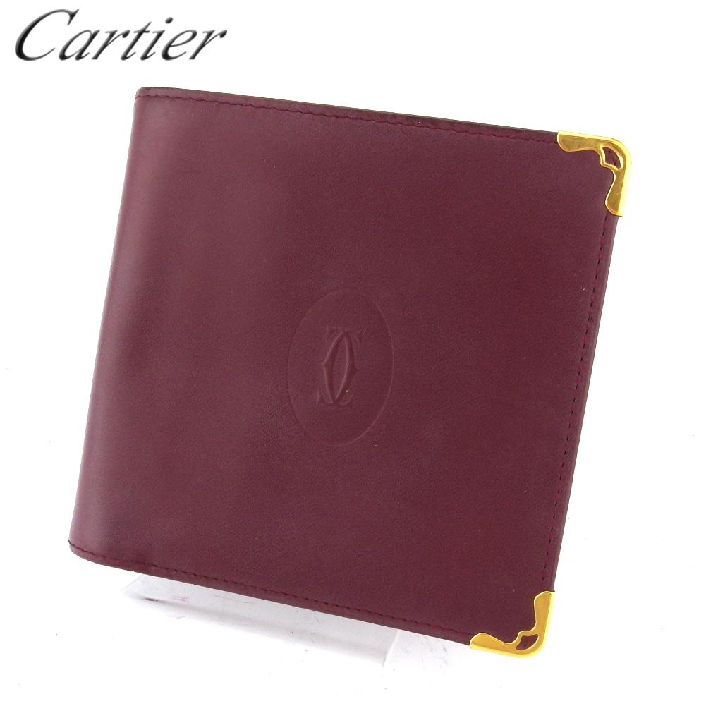 カルティエ 人気 中古 二つ折り 財布 レディース マストライン T18049 男女兼用 ボルドー メンズ Cartier 送料無料新品 レザー