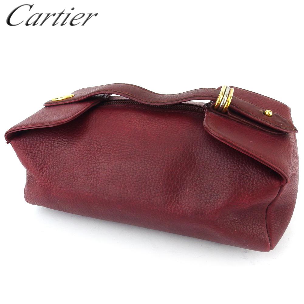 【中古】 カルティエ バニティ 化粧ポーチ レディース マストライン ボルドー レザー Cartier T18072