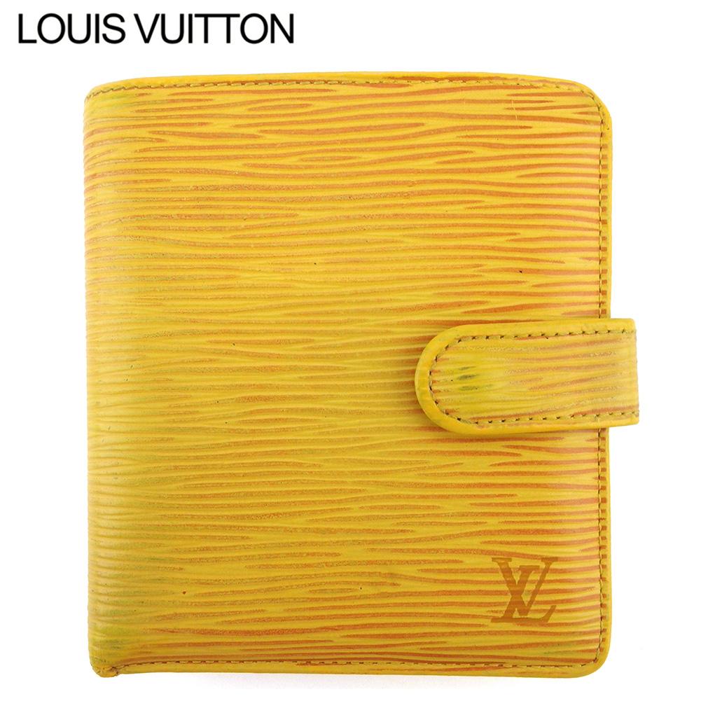 【中古】 ルイ ヴィトン 二つ折り 財布 ミニ財布 レディース メンズ ポルトビエコンパクト エピ イエロー パープル エピレザー Louis Vuitton F1682