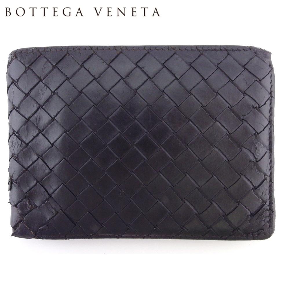 【中古】 ボッテガ ヴェネタ 二つ折り 財布 ミニ財布 メンズ イントレチャート ブラウン レザー BOTTEGA VENETA F1692