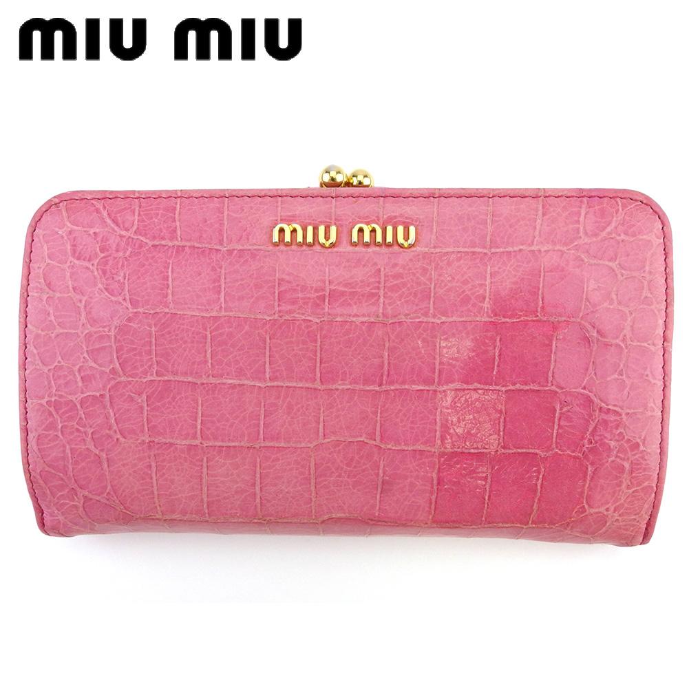 【中古】 ミュウミュウ がま口 財布 中長財布 レディース クロコ調 ピンク ゴールド 型押しレザー miu miu L3052