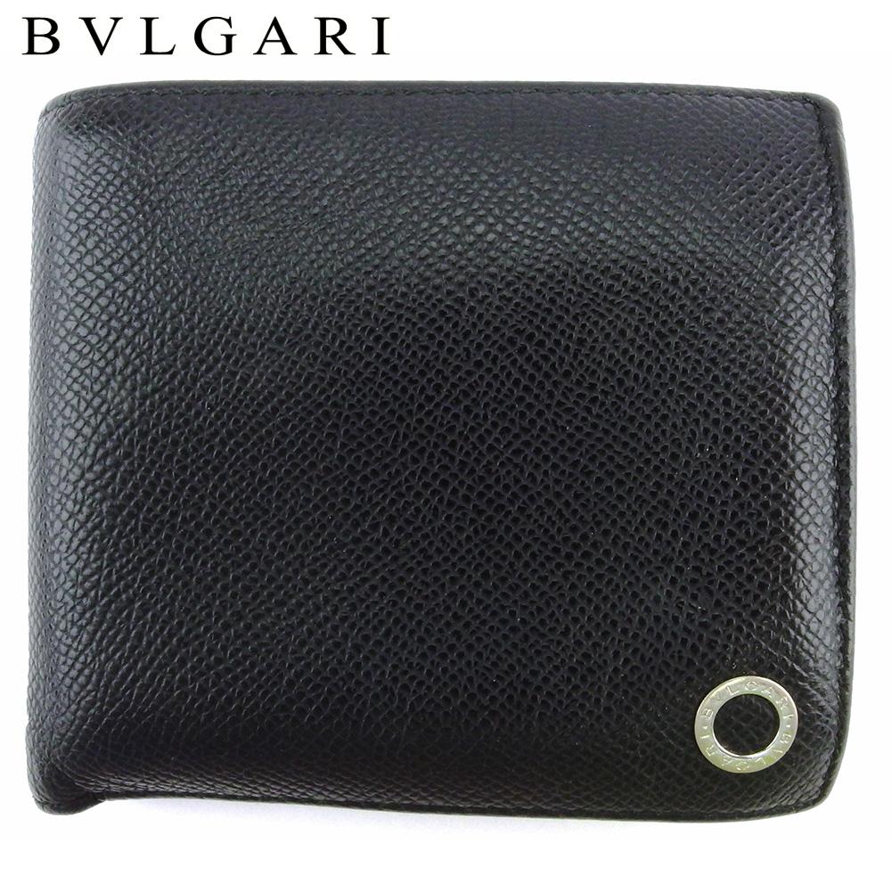【中古】 ブルガリ 二つ折り 財布 ミニ財布 メンズ ブルガリブルガリマン ブラック シルバー ブルー レザー BVLGARI T18157
