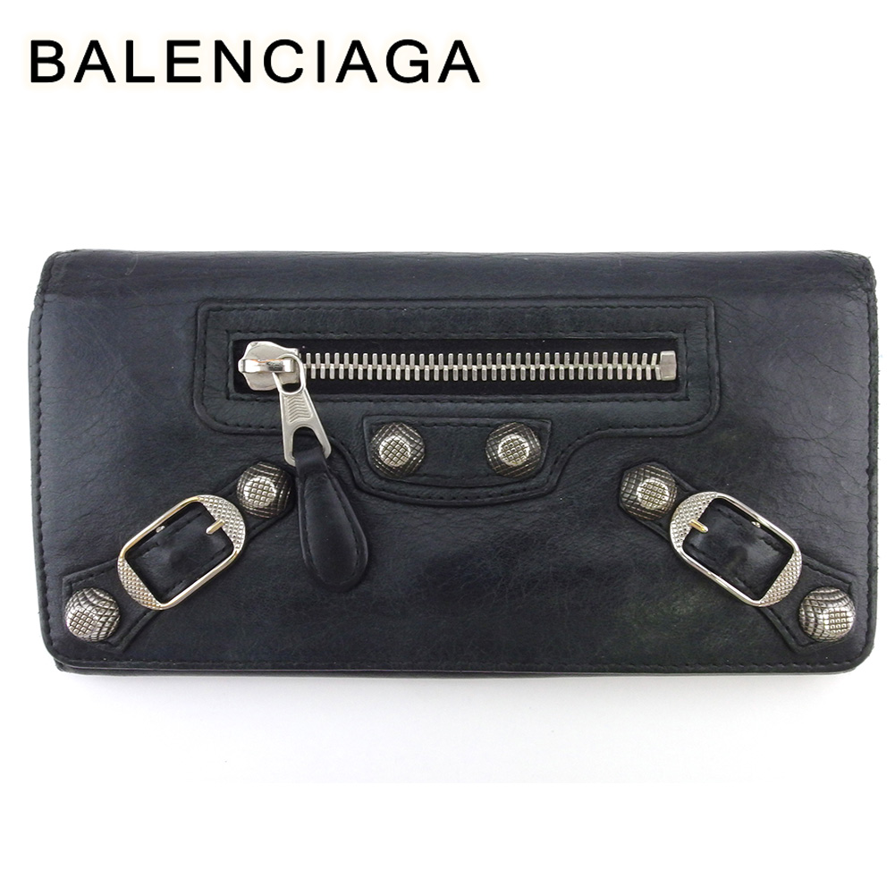 バレンシアガ 人気 中古 長財布 アウトレット ファスナー付き 財布 レディース 在庫処分 シルバー T18185 レザー ジャイアントマネー BALENCIAGA ブラック