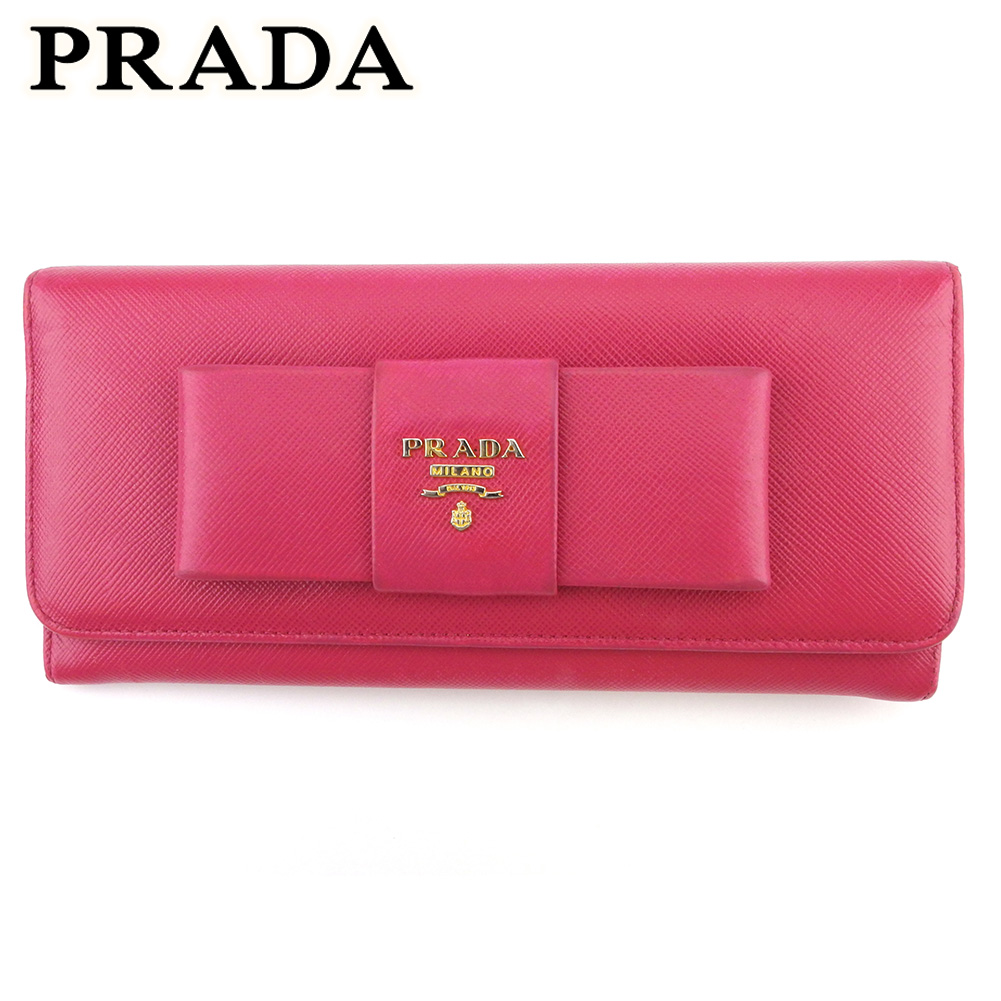 プラダ 人気 中古 長財布 ファスナー付き 財布 レディース 激安価格と即納で通信販売 ピンク T18187 リボン サフィアーノレザー ゴールド 割り引き PRADA