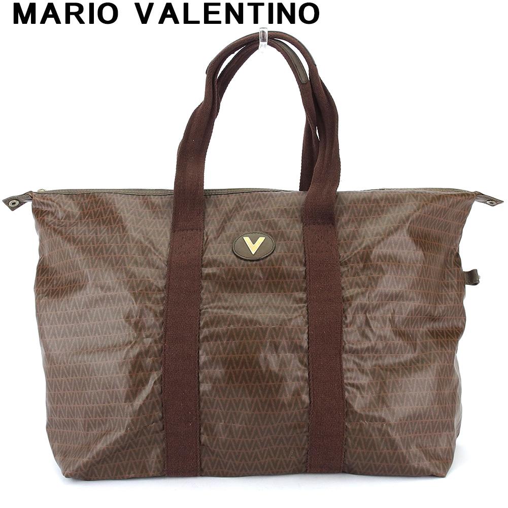 マリオ ヴァレンティノ 人気 中古 絶品 トートバッグ ボストンバッグ レディース お求めやすく価格改定 メンズ MARIO VALENTINO ブラウン PVC×レザー T18432