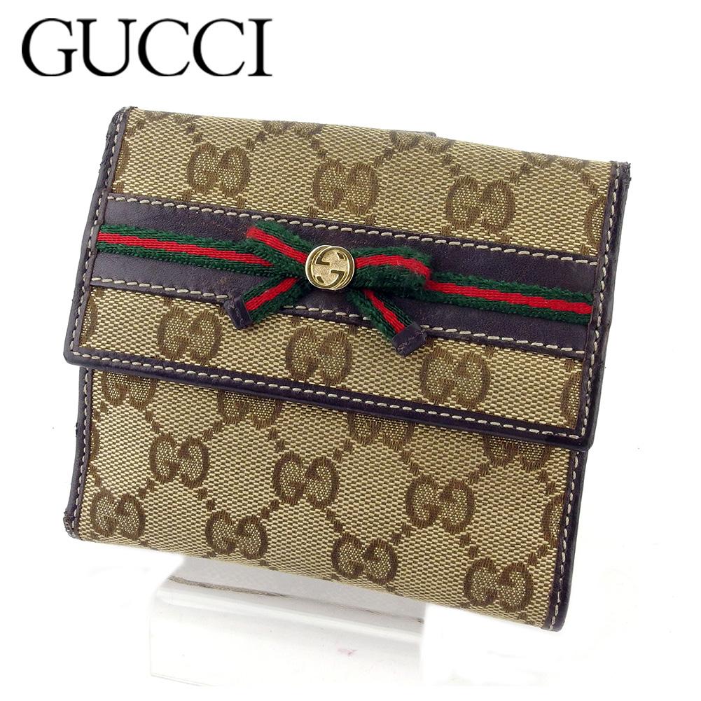 【中古】 グッチ Wホック財布 二つ折り 財布 レディース GG柄 ベージュ ブラウン キャンバス×レザー Gucci T18485 .