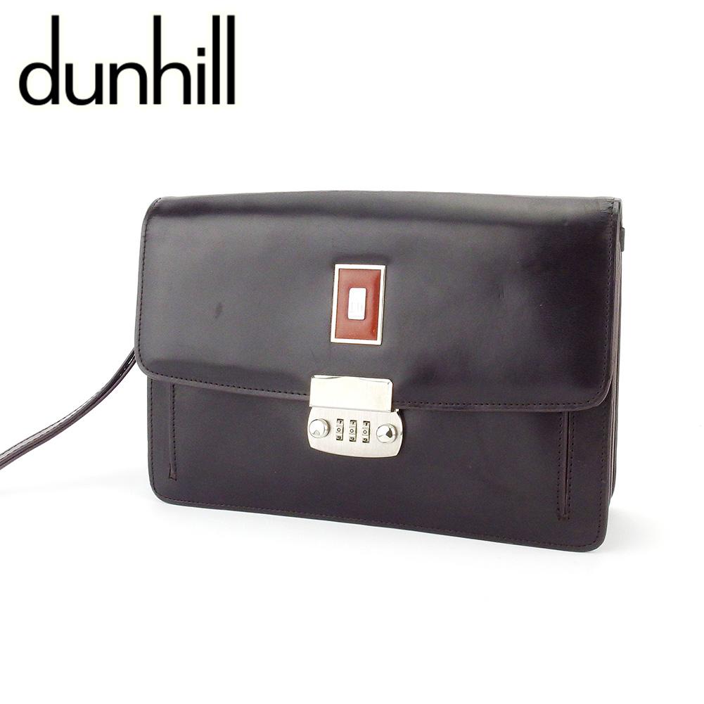 【中古】 ダンヒル クラッチバッグ セカンドバッグ メンズ サイドカー ブラウン シルバー レザー dunhill T18553