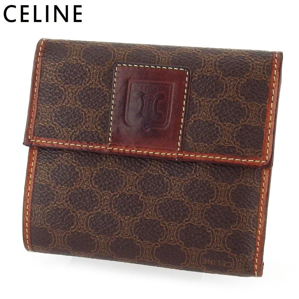 【中古】 セリーヌ 三つ折り 財布 さいふ ミニ財布 さいふ レディース メンズ マカダム ブラウン ベージュ PVC×レザー CELINE G1507