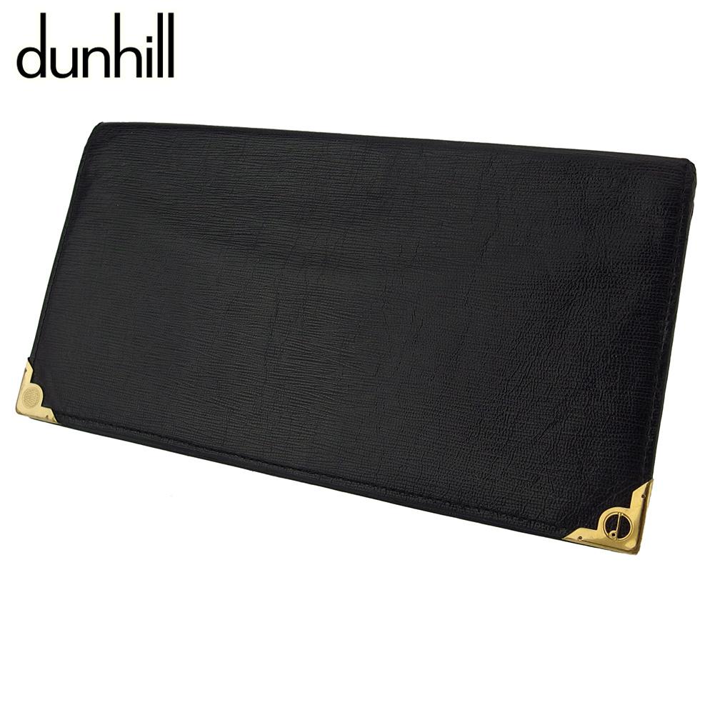 ダンヒル 人気 人気急上昇 ラスト1個 中古 長札入れ 札入れ メンズ dunhill dマークプレート ゴールド 送料無料 レザー ブラック G1523 期間限定お試し価格