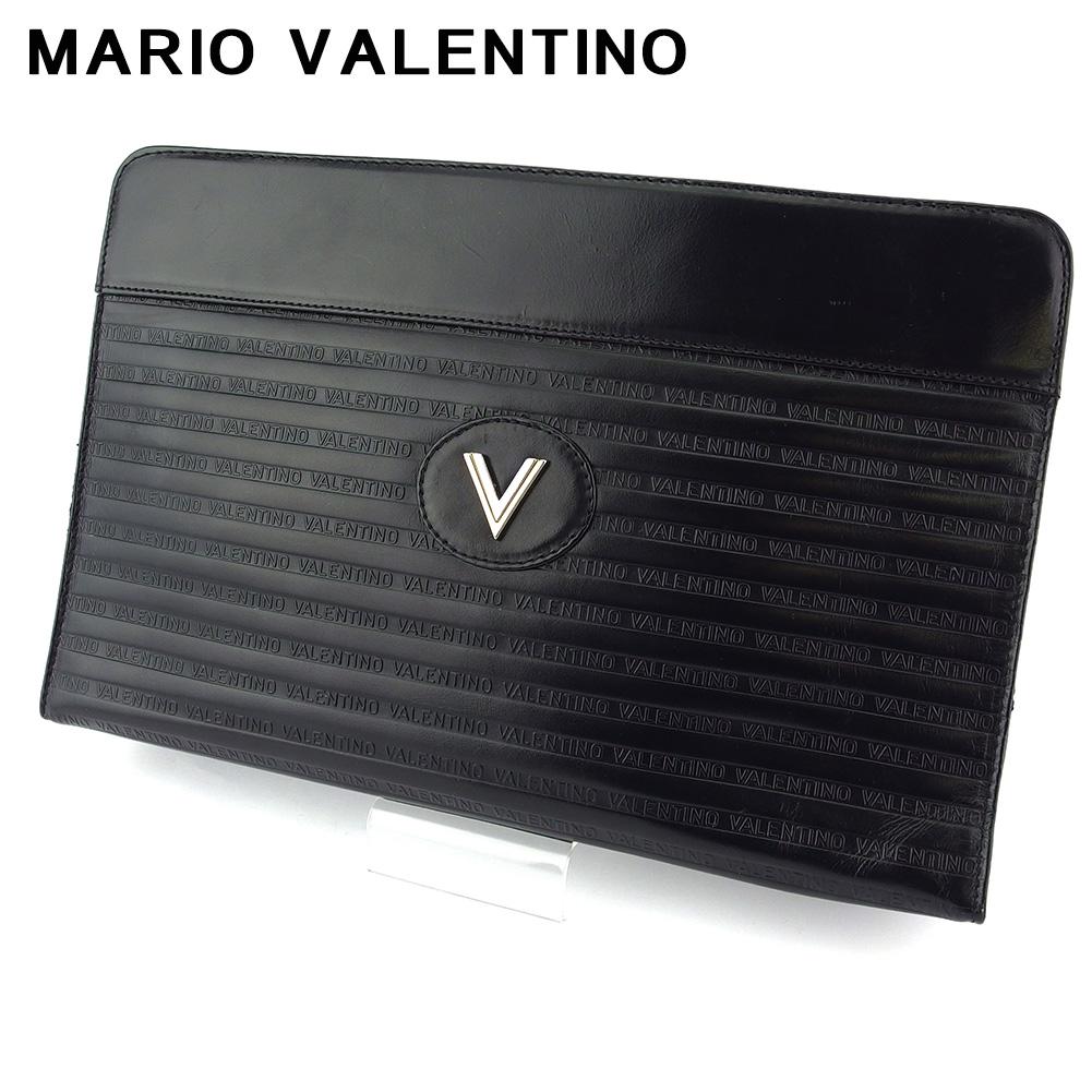 【中古】 マリオ ヴァレンティノ クラッチバッグ セカンドバッグ レディース メンズ Vマーク ブラック ゴールド シルバー レザー MARIO VALENTINO T18624@