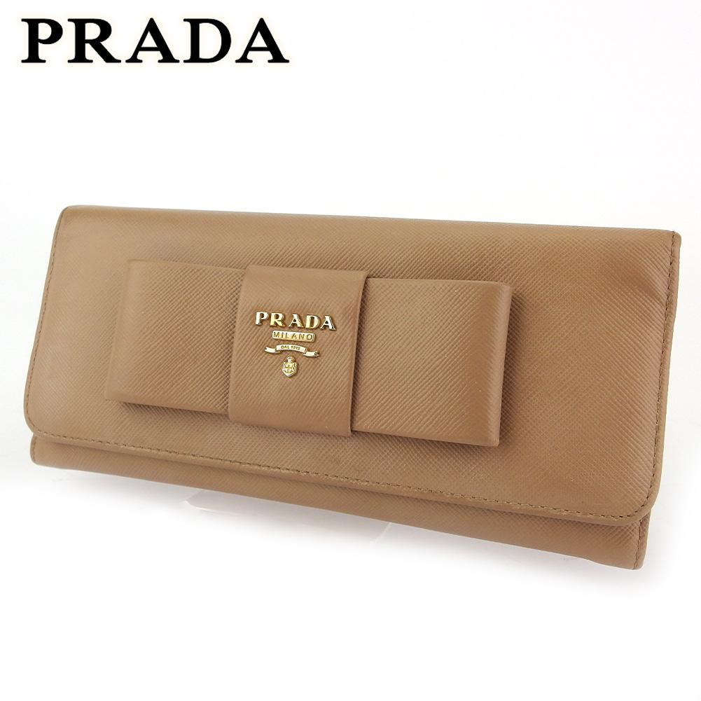 現品 プラダ 人気 中古 長財布 ファスナー付き レディース ベージュ リボンモチーフ PRADA G1528 新作多数 レザー