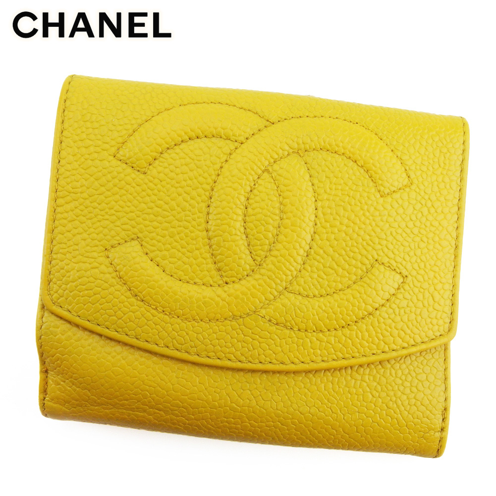 シャネル 人気 超美品再入荷品質至上 中古 Wホック 財布 至高 二つ折り ミニ財布 キャビアスキン L3216 レディース ココマーク CHANEL イエロー