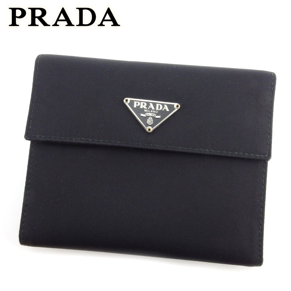 プラダ 人気 中古 (訳ありセール 格安) 三つ折り 財布 ミニ財布 レディース ブラック トライアングルロゴ メンズ 供え ナイロンキャンバス×サフィアーノレザー L3218 PRADA シルバー