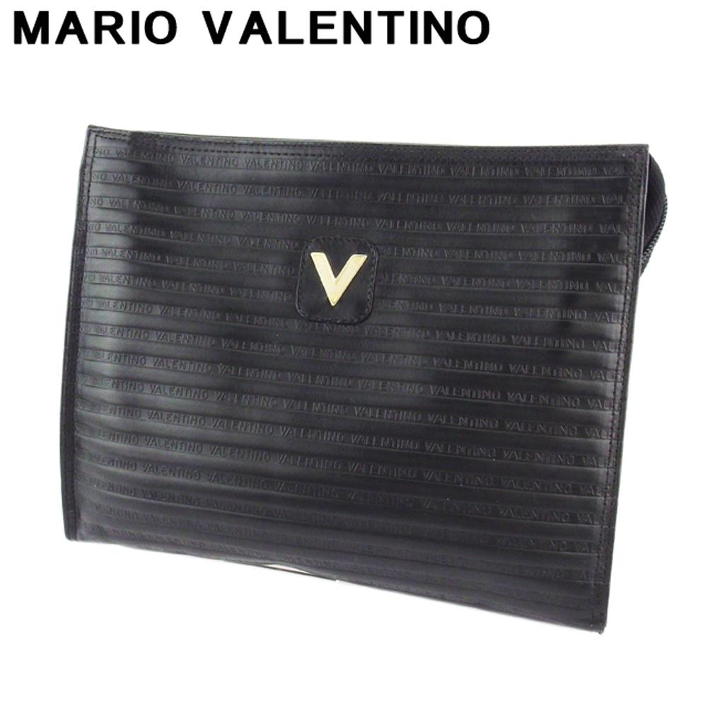 ヴァレンティノ 人気 中古 マリオ 2020 新作 クラッチバッグ セカンドバッグ バッグ レディース T18941 Vマーク レザー ブラック MARIO VALENTINO セール 登場から人気沸騰 ゴールド メンズ