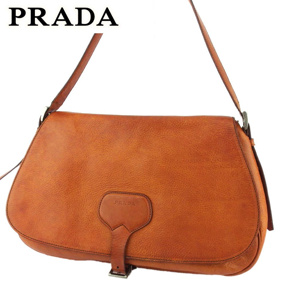 プラダ 人気 中古 豊富な品 ショルダーバッグ 安心の実績 高価 買取 強化中 斜めがけショルダー バッグ レディース シルバー PRADA T19156 ロゴ レザー ブラウン メンズ
